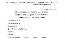 BIÊN BẢN HỌP HỘI ĐỒNG ĐÁNH GIÁ CẤP CƠ SỞ NHIỆM VU HỢP TÁC QUỐC TẾ SONG PHƯƠNG VỀ KHOA HỌC VÀ CÔNG NGHỆ CẤP BỘ