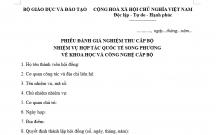 PHIẾU ĐÁNH GIÁ NGHIỆM THU CẤP BỘ NHIỆM VỤ HỢP TÁC QUỐC TẾ SONG PHƯƠNG VỀ KHOA HỌC VÀ CÔNG NGHỆ CẤP BỘ
