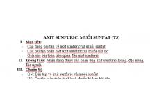 HÓA HỌC TÌM HIỂU VỀ AXIT SUNFURIC, MUỐI SUNFAT (T3)