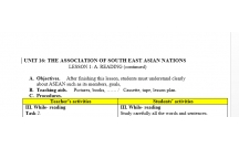 TIẾNG ANH 12 CHỦ ĐỀ HIỆP HỘI CÁC QUỐC GIA ĐÔNG NAM Á- LESSON  2