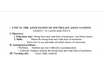 TIẾNG ANH 12 CHỦ ĐỀ HIỆP HỘI CÁC QUỐC GIA ĐÔNG NAM Á- LESSON  6