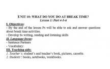 TIẾNG ANH 3 : BẠN LÀM GÌ VÀO GIỜ NGHỈ- WHAT DO YOU DO AT BREAKTIME - LESSON 2