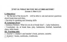 TIẾNG ANH 3 : BẠN LÀM GÌ VÀO GIỜ NGHỈ- WHAT DO YOU DO AT BREAKTIME - LESSON1