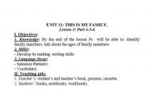 TIẾNG ANH 3 : THIS IS MY FAMILY- ĐÂY LÀ GIA ĐÌNH CỦA TÔI - LESSON6