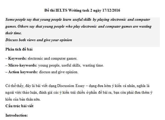 IELTS Writing task 2 - chủ đề chủ đề electronic and computer games