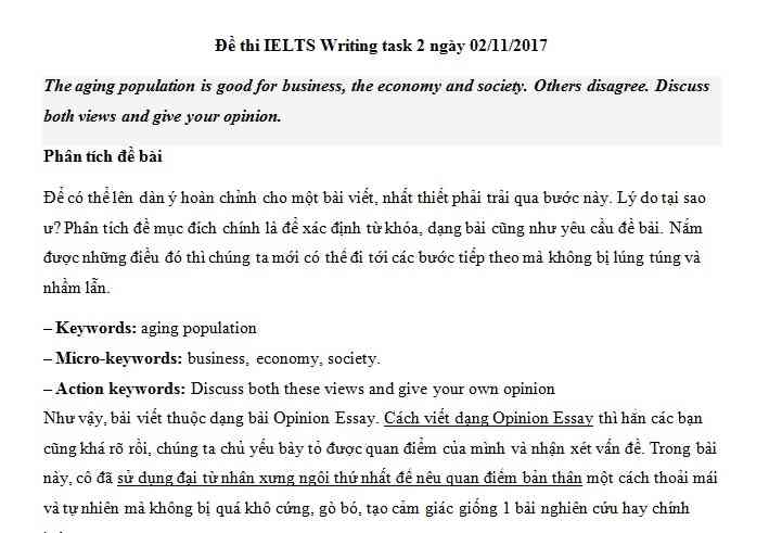 IELTS Writing task 2 - chủ đề chủ đề Population