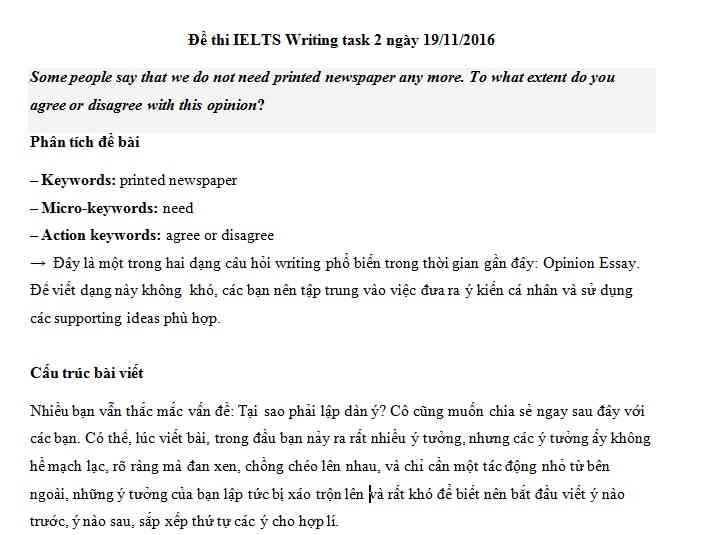 IELTS Writing task 2 - chủ đề chủ đề Printed newspaper