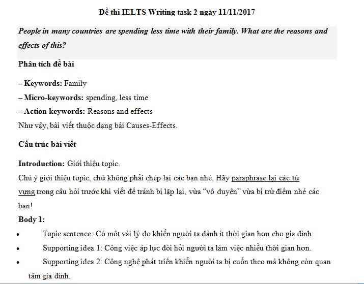 IELTS Writing task 2 - chủ đề Family