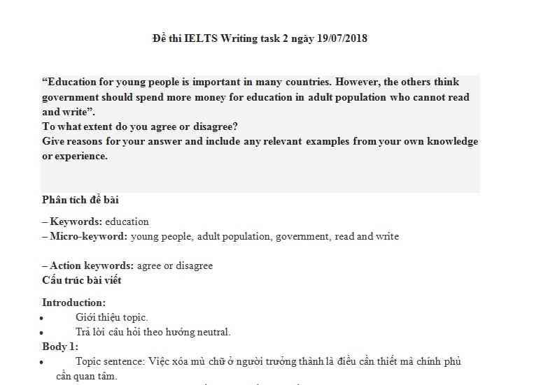 IELTS Writing task 2 - chủ đề Giáo Dục (Education)