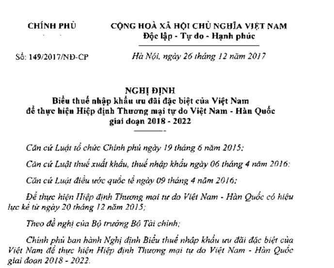 Nghị định 149/2017/NĐ-CP về biểu thuế NK ưu đãi