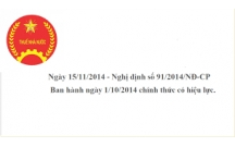 Nghị định số 91/2014/NĐ-CP