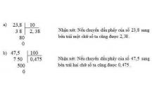 Tóm tắt lý thuyết Toán lớp 5: Chia một số thập phân cho 10, 100, 1000, …