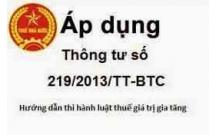 Thông tư số 219/2013/TT-BTC ngày 31/12/2013 về thuế GTGT