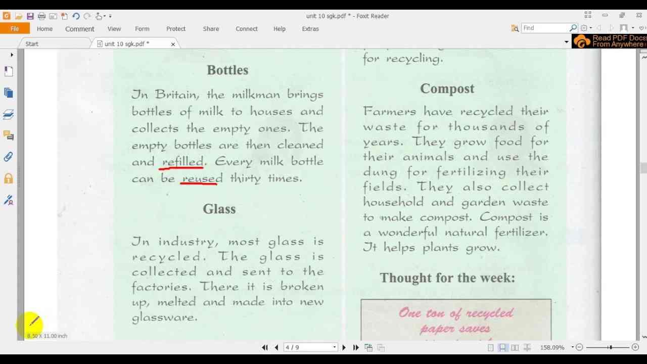 Bài tập tiếng Anh lớp 8 Unit 10 Recycling - Đề 3
