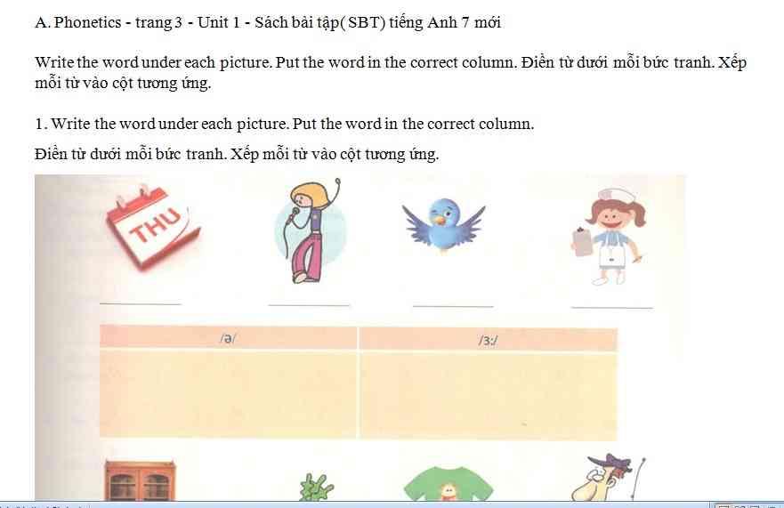 Bài luyện tập cho học sinh môn tiếng Anh lớp 11 bài số 9.1