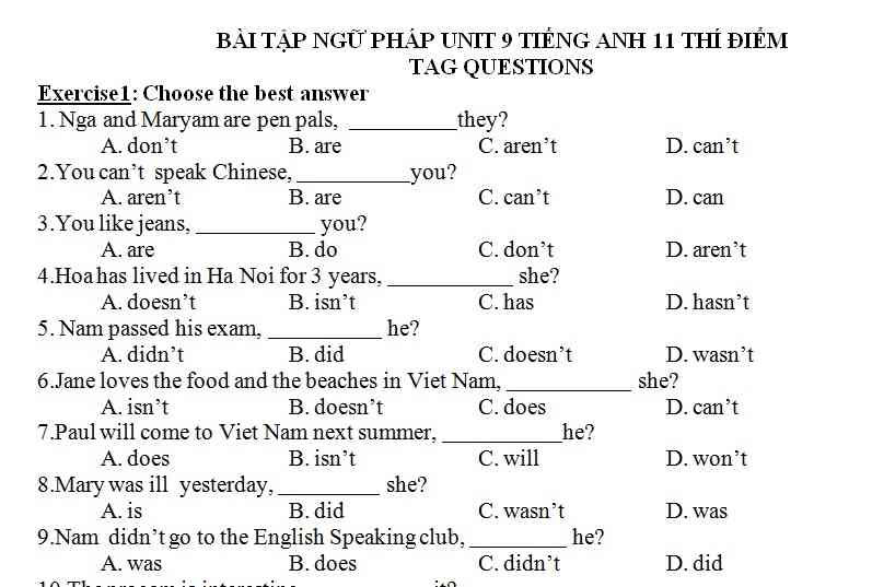 Bài luyện tập tiếng Anh lớp 11 bài số 3.1