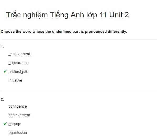 Bài luyện tập tiếng Anh lớp 11 bài số 2.1