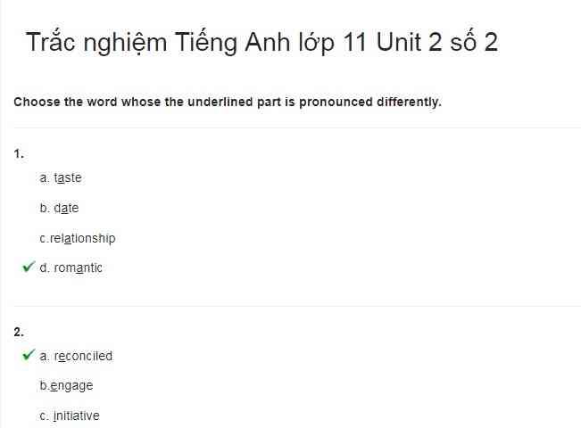Bài luyện tập tiếng Anh lớp 11 bài số 2.2